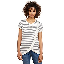 Motherhood Maternity® Striped Lift-Up Drape Front Nursing Top