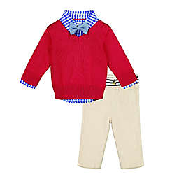 Beetle & Thread® 4-Piece Gingham Top, Sweater, Bow Tie and Pant Set