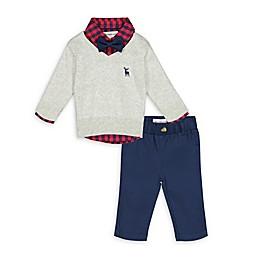 Beetle & Thread® 4-Piece Sweater, Gingham Top, Bow Tie and Pant Set