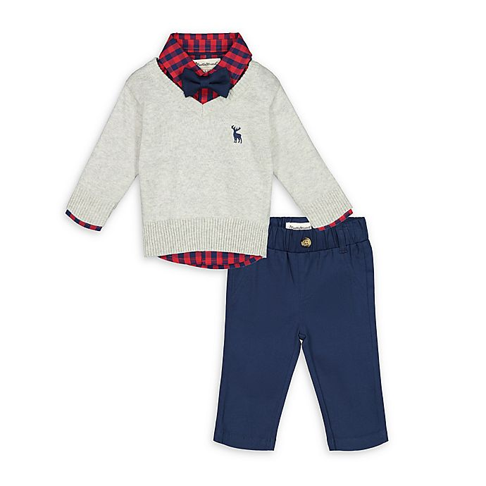 Alternate image 1 for Beetle & Thread® 4-Piece Sweater, Gingham Top, Bow Tie and Pant Set