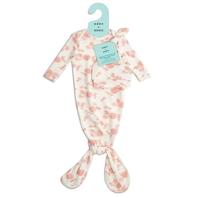 Alternate image 1 for aden + anais® Size 0-3M 2-Piece Rose Knot Gown and Hat Set in Pink