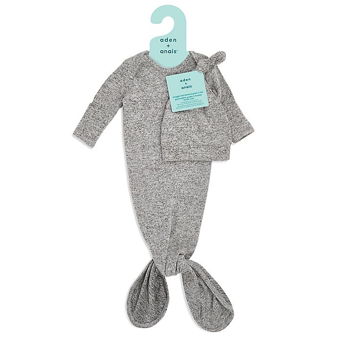 Alternate image 1 for aden + anais® Size 0-3M 2-Piece Knot Gown and Hat Set in Grey