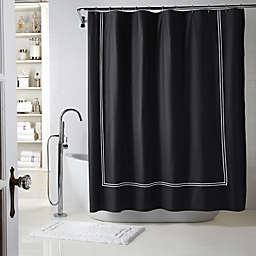 Wamsutta® Baratta Stitch Shower Curtain in Black/White