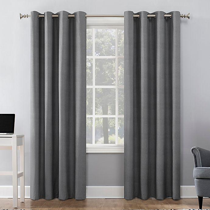 Alternate image 1 for Sun Zero® Duran 84-Inch Grommet 100% Blackout Window Curtain Panel in Grey (Single)