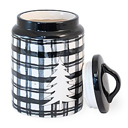 Boston International Buffalo Plaid Tree 3.5-Cup Canister in Black/White