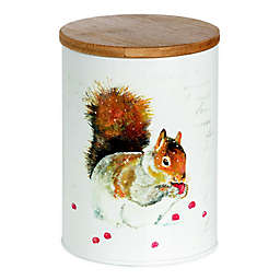 Boston International Squirrel Cookie Tin Cannister in White/Brown