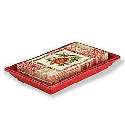 Boston International Beaded Ceramic Napkin Caddy Tray in Red