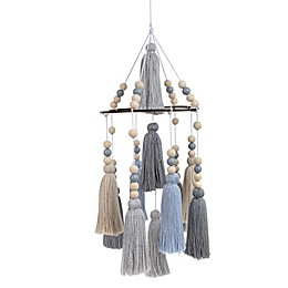 OiOi Tassels and Beads Ceiling Mobile in Blue/Grey