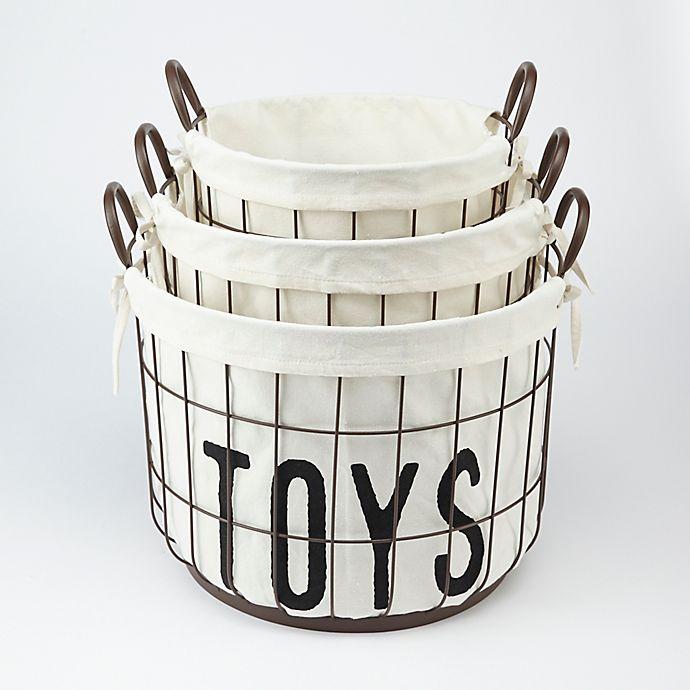 Alternate image 1 for Mud Pie® 3-Piece Wire Storage Basket Set