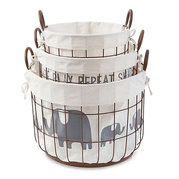 Alternate image 1 for Mud Pie® 3-Piece Safari Wire Storage Basket Set