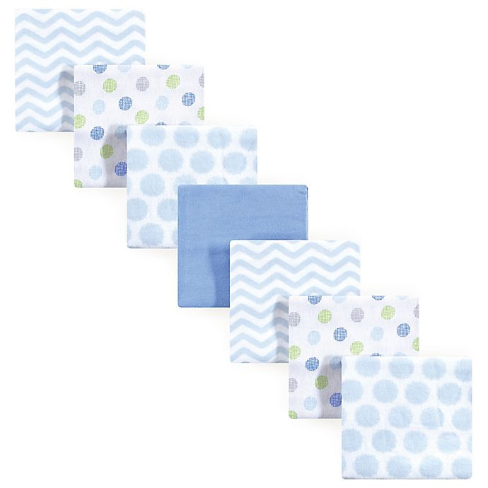 Alternate image 1 for Luvable Friends® 7-Pack Patterns Flannel Receiving Blankets in Blue