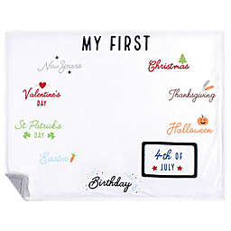 Hudson Baby® First Holiday Milestone Plush Blanket in White
