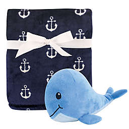 Hudson Baby® 2-Piece Anchor Whale Plush Blanket and Toy Set in Blue