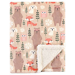 Hudson Baby® Minky Blanket with Sherpa Back in Forest Pink