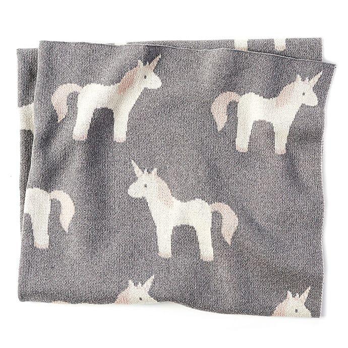 Alternate image 1 for Mud Pie® Knit Unicorn Receiving Blanket in Grey