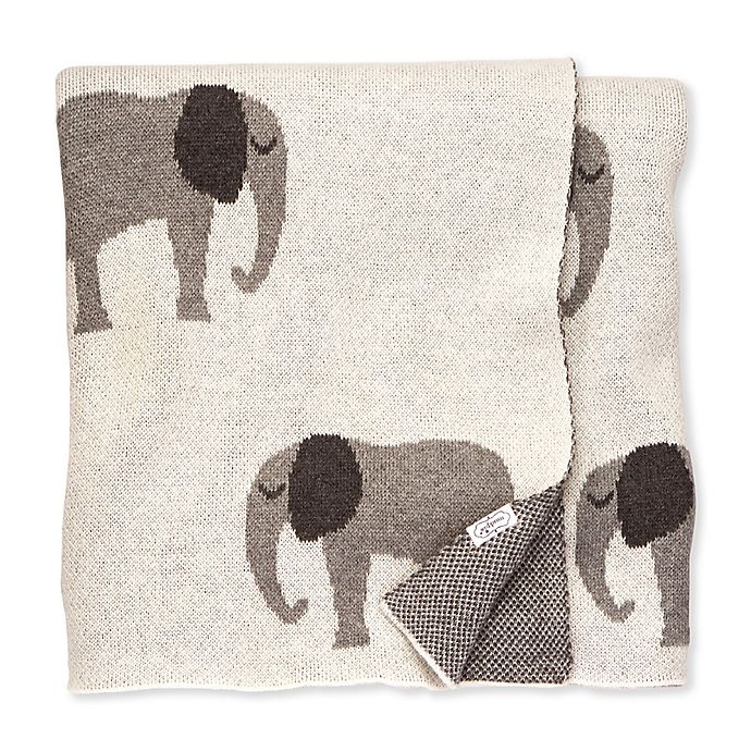 Alternate image 1 for Mud Pie® Knit Elephant Receiving Blanket in White