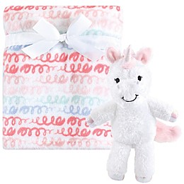 Hudson Baby® 2-Piece Snuggly Unicorn Plush Blanket and Toy Set in Pink