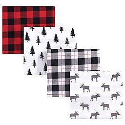Hudson Baby® Moose Flannel 4-Pack Receiving Blanket Set in Red