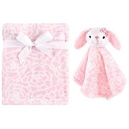 Hudson Baby® Bunny Plush Security Blanket Set in Pink
