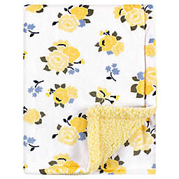 Luvable Friends® Floral Minky Blanket with Sherpa Back in Yellow