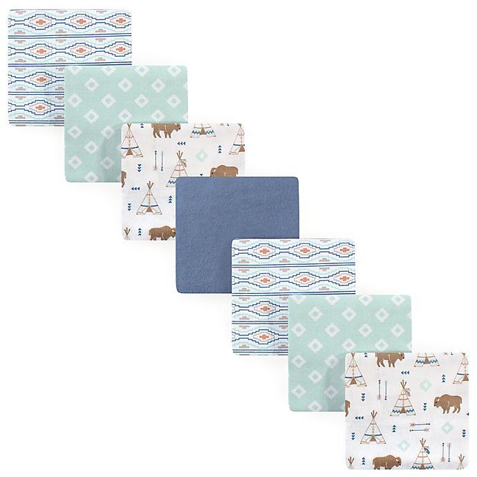 Alternate image 1 for Hudson Baby® 7-Pack Teepee Flannel Receiving Blankets in Blue