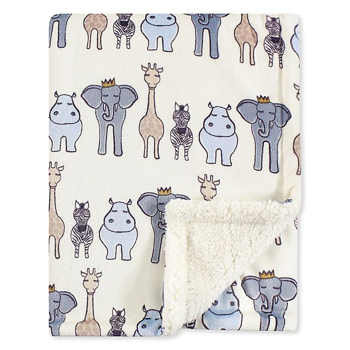 Alternate image 1 for Hudson Baby® Minky Blanket with Sherpa Back in Safari