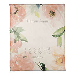 Blush Floral Border 50x60 PZ Throw Blanket