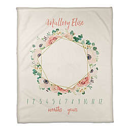 Floral Hex Wreath 50x60 PZ Throw Blanket