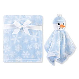 Hudson Baby® Plush Snowman Security Blanket Set in Blue