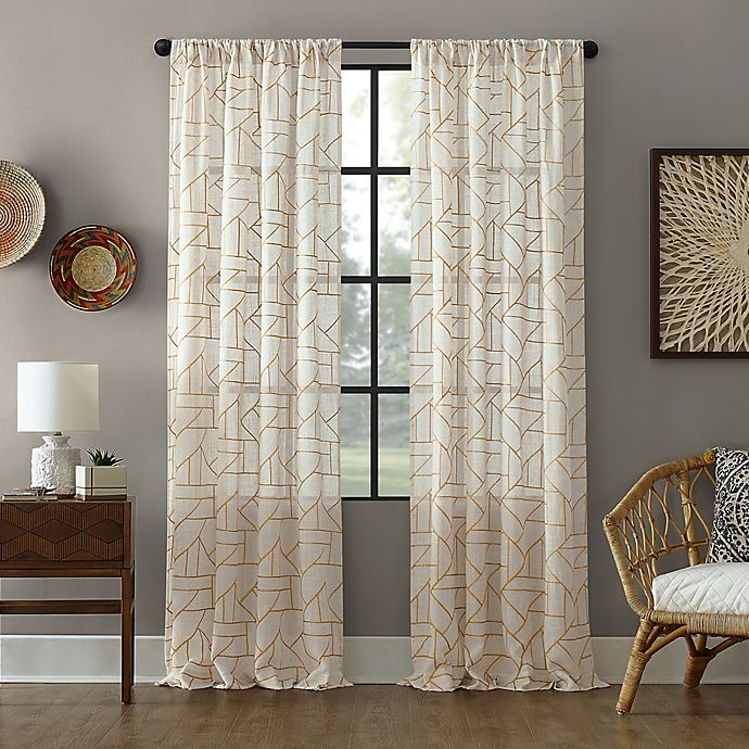 Alternate image 1 for Archaeo® Jigsaw Embroidery Linen Rod Pocket Semi-Sheer Curtain Panel