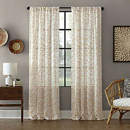Archaeo® Jigsaw Embroidery Linen 84-Inch Rod Pocket Semi-Sheer Curtain Panel in Gold/Linen