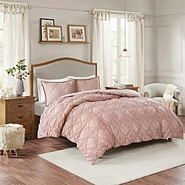 Madison Park Theresa Ruched Rosette Duvet Cover Set in Dusty Rose