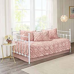 Madison Park Theresa Ruched Rosette Reversible 5-Piece Daybed Bedding Set in Dusty Rose