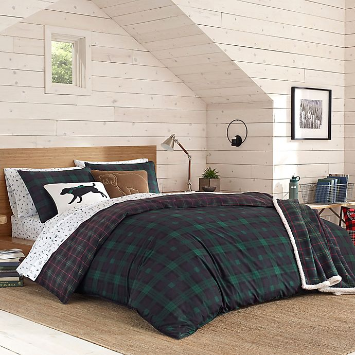 Alternate image 1 for Eddie Bauer® Woodland Tartan Comforter Set in Pine Green
