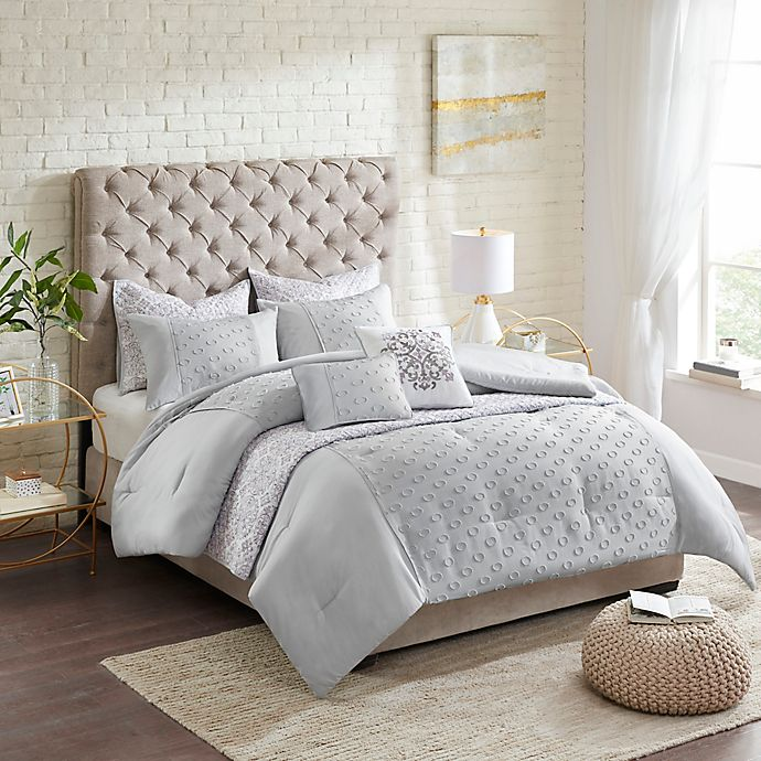 Alternate image 1 for Madison Park Evie Clipped Jacquard 8-Piece Comforter and Coverlet Set