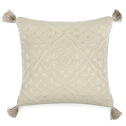 Rose Tree Nadia Damask Square Throw Pillow in Cream