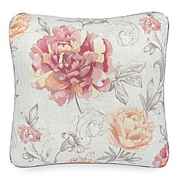 Rose Tree Nadia Floral Square Throw Pillow in Rose