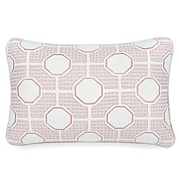 Rose Tree Nadia Geometric Oblong Throw Pillow in Rose