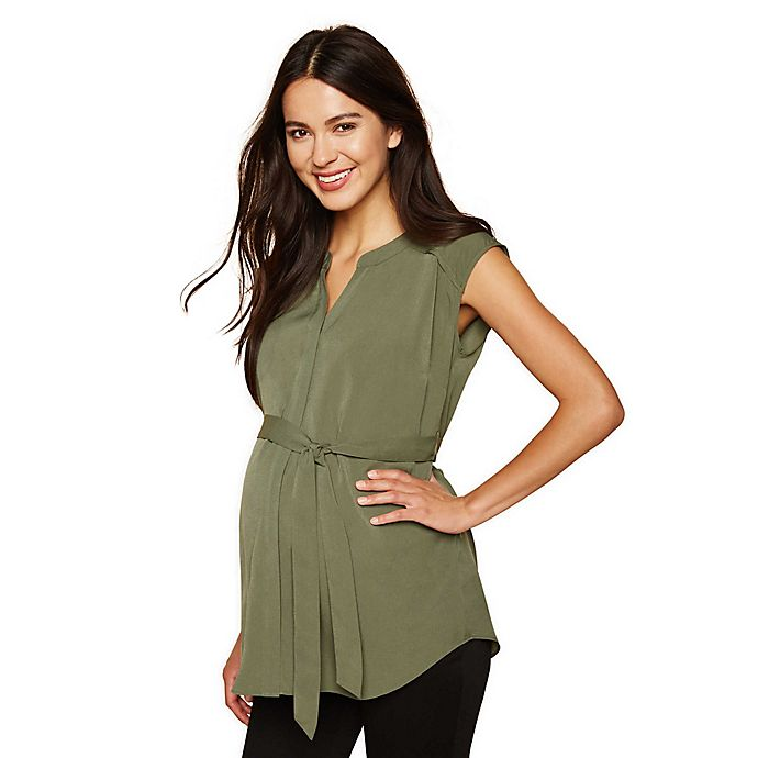 Alternate image 1 for Motherhood Maternity® Cap Sleeve Maternity Tunic
