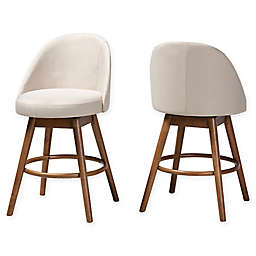 Baxton Studio® Tessa Upholstered Swivel Stools (Set of 2)