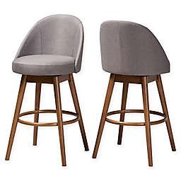 Baxton Studio® Tessa Upholstered Swivel Bar Stools (Set of 2)