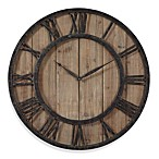 Uttermost 30-Inch Wooden Wall Clock in Rustic Dark Bronze