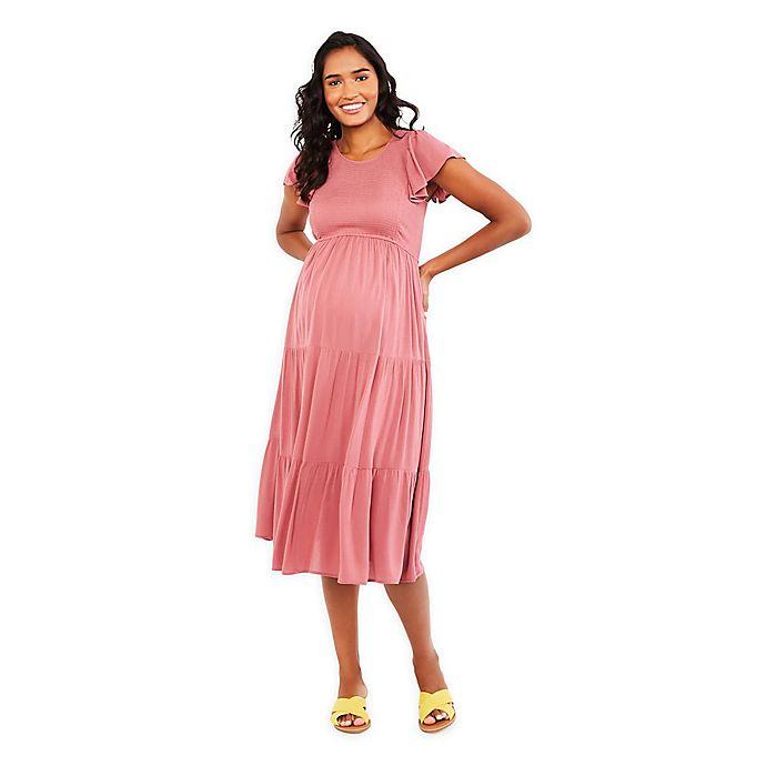 Alternate image 1 for Motherhood Maternity® Flutter Sleeve Smocked Dress in Mauvewood