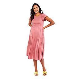 Motherhood® Maternity Flutter Sleeve Smocked Dress in Mauvewood