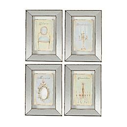 A&B Home Simeon Print Rectangular Mirror Wall Art in Grey (Set of 4)