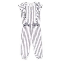 Jessica Simpson Pinstripe Toddler Romper in Grey