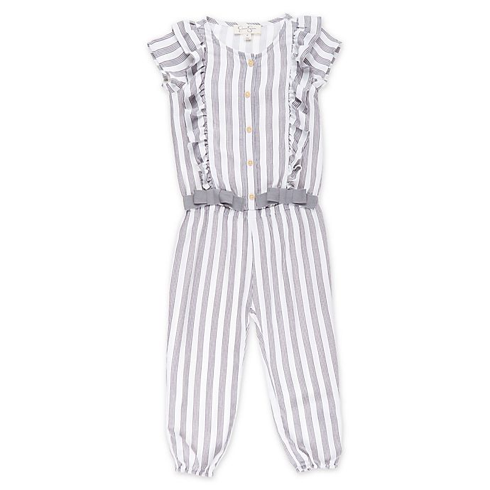 Alternate image 1 for Jessica Simpson Pinstripe Toddler Romper in Grey