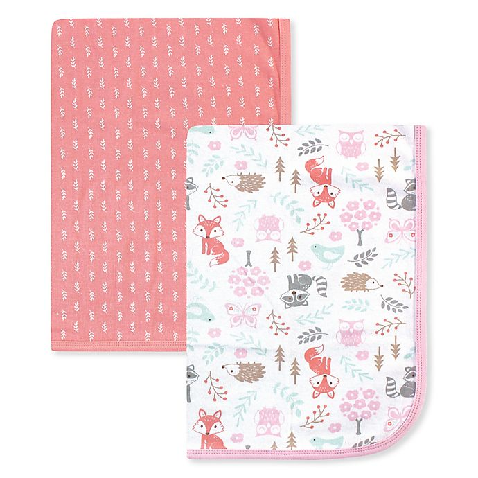 Alternate image 1 for Hudson Baby® 2-Pack Woodland Fox Cotton Swaddles in Pink