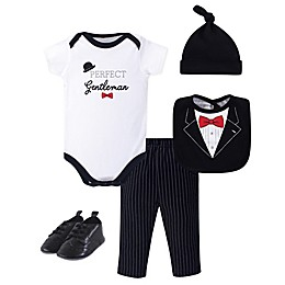 Little Treasure 5-Piece Gentleman Tuxedo Layette Set in Black/White
