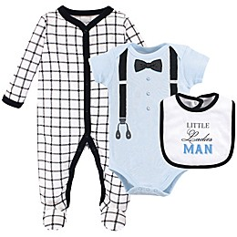 Little Treasure 3-Piece Ladies Man Footie, Bodysuit, and Bib Set
